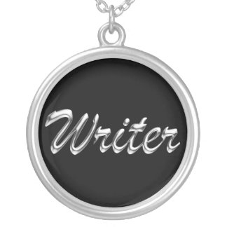 Writer Metallic Looking Script Silver Plated Necklace