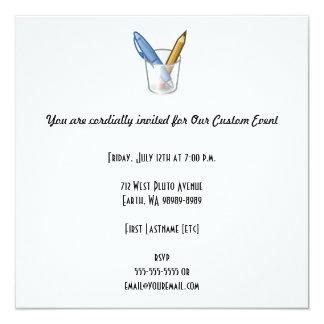 Writer Pen Pencil Cup 13 Cm X 13 Cm Square Invitation Card