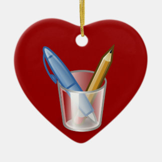 Writer Pen Pencil Cup Ceramic Heart Decoration