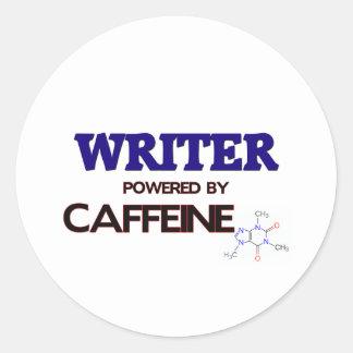 Writer Powered by caffeine Round Stickers