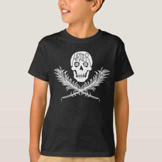 Writer Skull and Crossbones Quills White T-Shirt