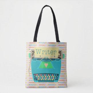 Writer Typewriter Cute Retro Aqua Blue Modern Tote Bag