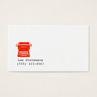 Writer Typewriter Simple White Business Card
