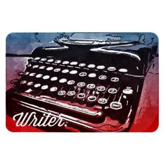 Writer Vintage Typewriter Blue Red Pop Art Magnet