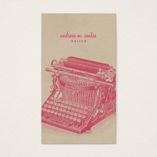 Writer Vintage Typewriter Cool Pink Simple Modern Business