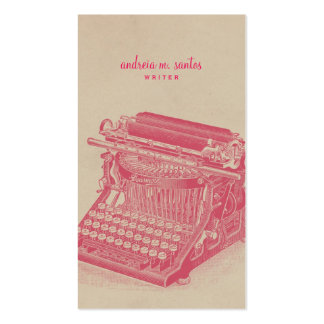 Writer Vintage Typewriter Cool Pink Simple Modern Pack Of Standard Business Cards