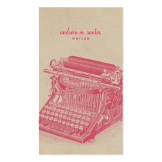 Writer Vintage Typewriter Cool Pink Simple Modern Pack Of Standard Business Cards