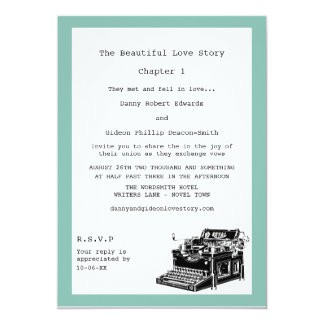 Writer Vintage Typewriter Gay Wedding 13 Cm X 18 Cm Invitation Card