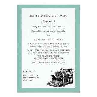 Writer Vintage Typewriter Lesbian Wedding Card