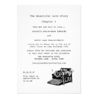 Writer Vintage Typewriter Lesbian Wedding Announcements