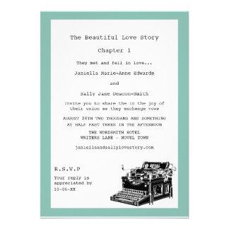 Writer Vintage Typewriter Lesbian Wedding Invitation