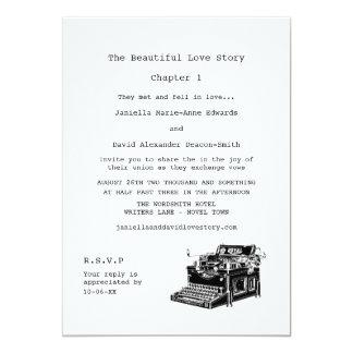 Writer Vintage Typewriter Wedding 13 Cm X 18 Cm Invitation Card