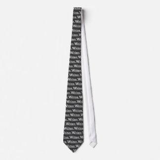 Writer White text on Black tie