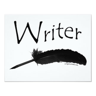 Writer with quill pen 11 cm x 14 cm invitation card