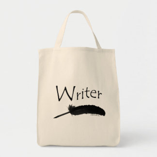 Writer with quill pen canvas bags