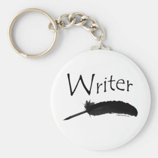 Writer with quill pen basic round button key ring