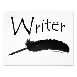 Writer with quill pen invite