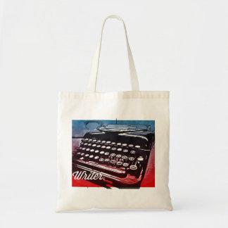 Writer with Typewriter Blue Red Pop Art Budget Tote Bag