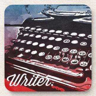 Writer with Typewriter Blue Red Pop Art Coaster