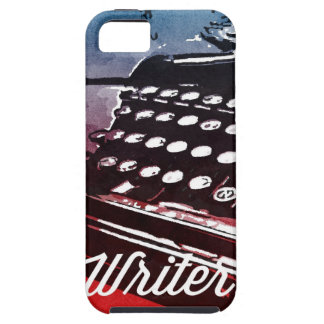 Writer with Typewriter Blue Red Pop Art iPhone 5 Case