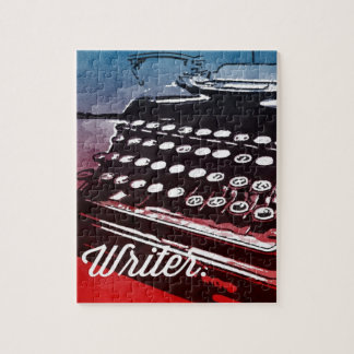Writer with Typewriter Blue Red Pop Art Puzzle