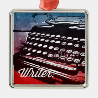 Writer with Typewriter Blue Red Pop Art Silver-Colored Square Decoration