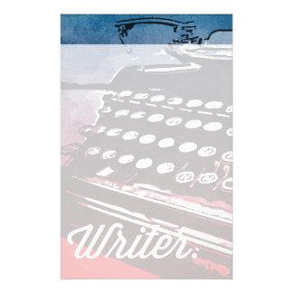 Writer with Typewriter Blue Red Pop Art Stationery Design