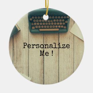 Writer writing desk retro typewriter christmas ornament