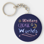 Writers Create Worlds Basic Round Button Key Ring
