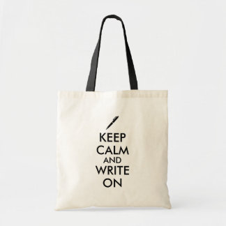 Writers Gifts Keep Calm and Write On Pen Custom Budget Tote Bag