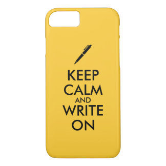 Writers Gifts Keep Calm and Write On Pen Custom iPhone 7 Case