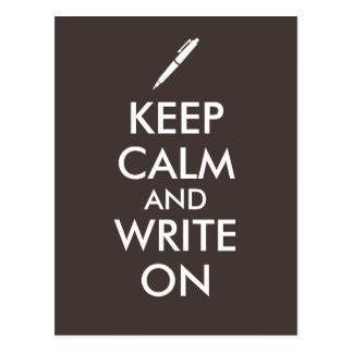 Writers Gifts Keep Calm and Write On Pen Custom Postcard