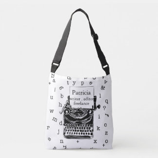 Writer's Love Retro  Typewriter Illustration Crossbody Bag