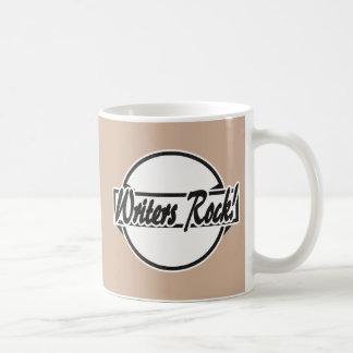 Writers Rock Circle Logo Black Grunge Basic White Mug