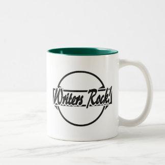 Writers Rock Circle Logo Black Grunge Two-Tone Coffee Mug