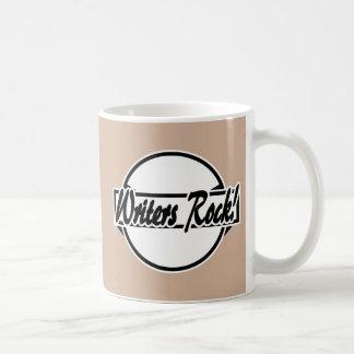Writers Rock Circle Logo Black White Basic White Mug