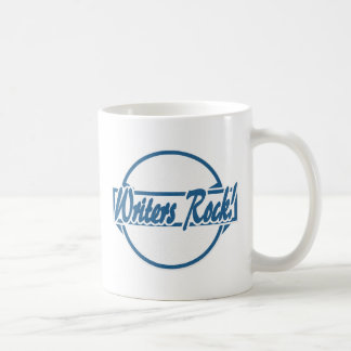 Writers Rock Circle Logo Blue Grunge Coffee Mug