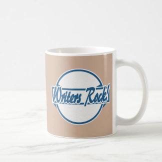 Writers Rock Circle Logo Blue Grunge Basic White Mug