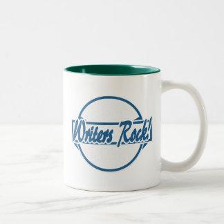 Writers Rock Circle Logo Blue Grunge Two-Tone Coffee Mug