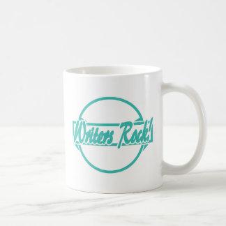 Writers Rock Circle Logo Turquoise Grunge Coffee Mug