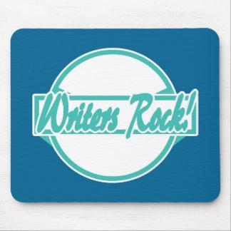 Writers Rock Circle Logo Turquoise Grunge Mouse Pad