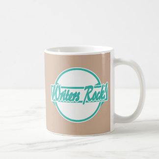 Writers Rock Circle Logo Turquoise Grunge Basic White Mug