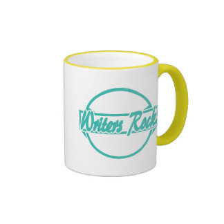 Writers Rock Circle Logo Turquoise Grunge Ringer Mug