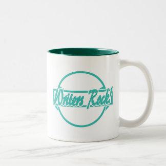 Writers Rock Circle Logo Turquoise Grunge Two-Tone Coffee Mug