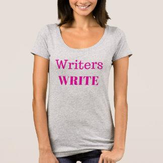 Writers Write Scoop Neck T-Shirt Pink Print