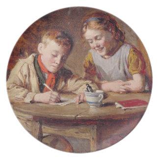 Writing a Letter (oil on panel) Dinner Plate