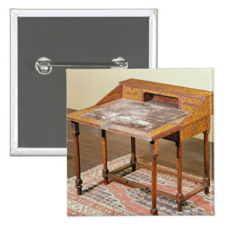 Writing desk, walnut with arabesque marquetry 15 cm square badge