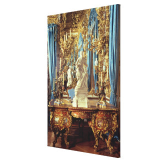 Writing table and statue of Louis XV Canvas Print
