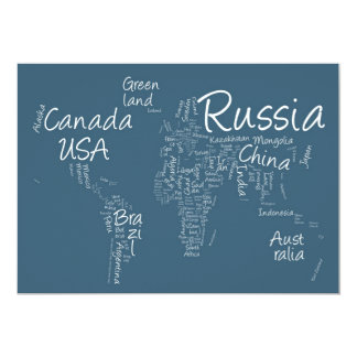 Writing Text Map of the World Map Card