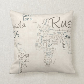 Writing Text Map of the World Map Cushion